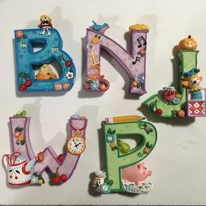 5 Vintage Mary Engelbreit Standing Ceramic Letters